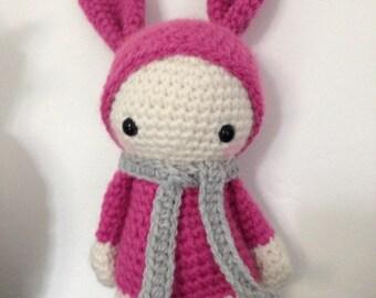 "Little Pixie Doll ""lutinou"" XL pink Teddy, blanket, birth gift, room decoration"