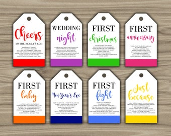 Milestone Wine Tags - Bridal Shower Gift Basket Tags - First Year Milestone Tags - INSTANT DOWNLOAD - Year Of Firsts - PRINTABLE - G001