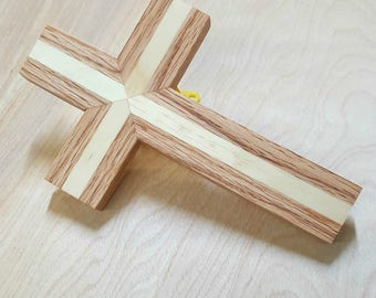 Wood wall cross made of red oak and pine. handmade wooden cross, wood cross,small