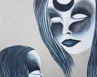 Horror Art, Dark Art, Colored Pencil Drawing, Black and White Art, Original Art