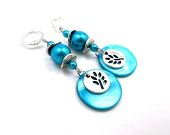 Earrings turquoise boho beads silver glass Pearl brass