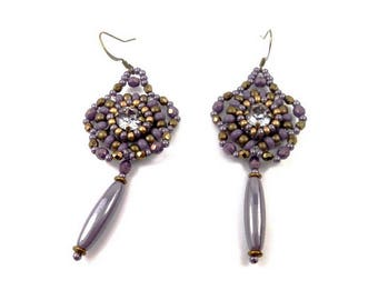 Embroidered retro purple bronze Crystal Swarovski earrings