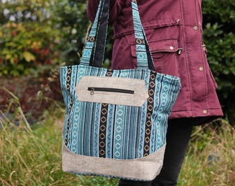 Turquoise Cotton and Natural Hemp Large Shoulder Bag Eco Friendly Vegan Handbag Festival Fashion Ethical Multicoloured