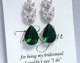Dark Green Earrings, Green Earrings, Green Wedding Earrings, Bridesmaid Earrings, Bridesmaid Gift, Wedding Earrings, Emerald Green Earrings