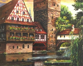 Old city of Nurnberg Fine Art Print Home Decor Wall Art Europe Old Architecture