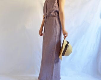 The Garden Dress: Women's Linen Maxi Dress in Plum
