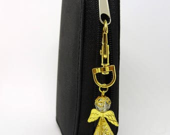 Guardian Angel Bag charm, Gold coloured angel, White opaque Angel bag charm, Stocking filler, Gift for a friend, Teachers gift,.