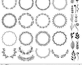 Wreaths Clipart, Hand drawn black design elements, Digital wreath, laurels, leaves and branches, Wedding clipart, Vector Download