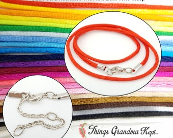Satin Cord Necklace With Rhodium Tone Clasp, 25 Colors! Your Choice of Lengths