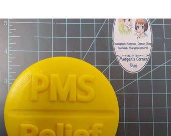 PMS Relief Plastic Mold or Silicone Mold, PMS mold, bath bomb mold, soap mold, relief mold, feminine mold, girly mold, aspirin, medicine