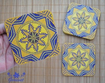 Coasters set Yellow kitchen decor Holiday gift for mother Table decor Tea coasters handmade Drinks coasters Star Christmas gift for sister