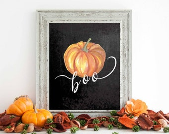 Fall Wall Art print, fall decor, autumn printable wall art print, pumpkin art, printable art, home decor, fall chalkboard print, boo print