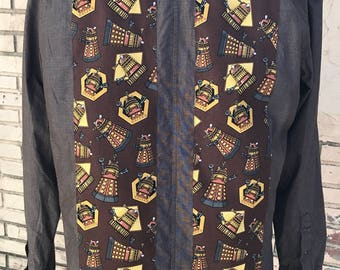 Doctor Who Men's Shirt By Maria B. Vintage Shirt & Doctor Who Daleks Fabric. Size Large.