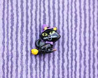 SALE This is Halloween Itty Bitty Kitty Pin - Little Halloween Cat Brooch Pin - Adorable Black Cat Witch Pin