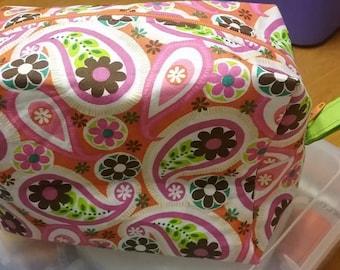 Boxy Bag, Dopp Kit, Toiletry Bag, Travel Bag, Makeup Bag Orange Paisley