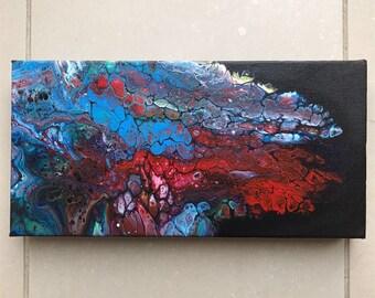 Acrylic paint pour on black background