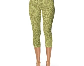 Green Capris Leggings - New Fashion Leggings, Yoga Leggings, Stretch Pants for Women