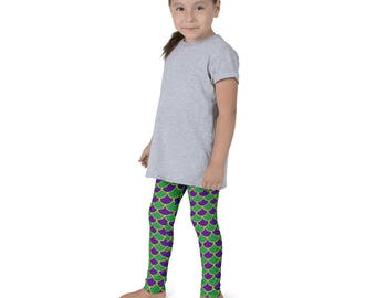 Kids Mardi Gras Leggings, Mermaid Leggings for Girls, Children's Purple and Green Yoga Pants, Costumes for Kids