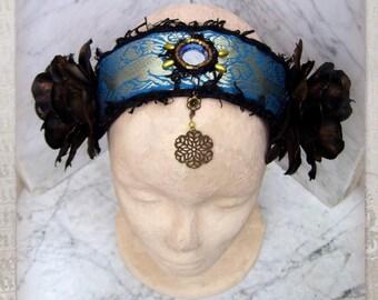 Tribal Fusion Costume Headdress, Dark Fusion Headpiece, Goth Belly Dance, Tribal Belly Dance Headdress, Flowers Headband, Tribal Headdress