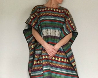 Hippie bohemian tapestry poncho // South American baja rainbow woven long cotton vintage festival cape// Unisex one size all