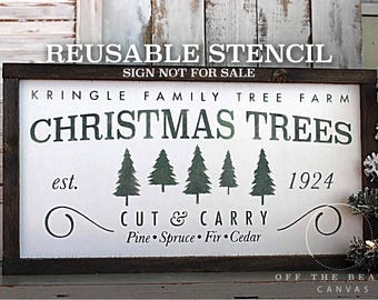Christmas Tree Farm STENCIL | Laser Cut | Resuable Stencil | Multiple Sizes | International Shipping
