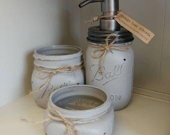 Grey Mason Jar Bathroom Set - WOLF GREY - rustic bathroom - cabin decor