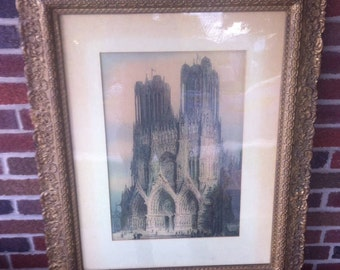 Antique watercolor print Notre Dame gothic cathedral framed