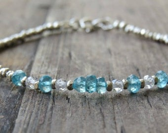 Blue Apatite and Zirconia silver Beaded Bracelet