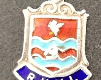 Silver Bracelet Charm Enamel Rhyl Vintage Pendant Fob Souvenir Wales