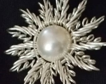 Fine Silver Swarovski Crystal Pearl Sunna Pendant Handcrafted with Chain