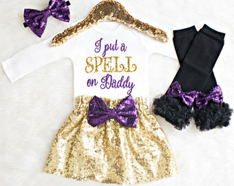 Girl Halloween Outfit for Toddlers Halloween Outfit I Put a Spell on Daddy Baby Girl Halloween Outfit Baby Girl Halloween Costume Toddler