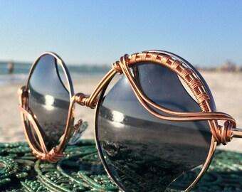 New Style / RHOMBUS Retro Vintage New Unisex Glasses / CoPPeR Wire Wrapped Glasses / Urban Bohemian Chic Sun Glasses Eyewear Glasses