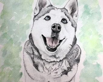 CUSTOM PET PORTRAIT Watercolor Painting of your furry friend