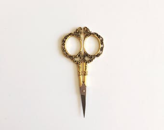 Gold Vintage Style Scissors/Floral Scissors/Embroidery Scissors/Cross Stitch Scissors/Small Scissors/Mini Scissors/Pretty Scissors