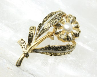 Vintage Spanish Damascene Flower Brooch Pin with Faux Pearl Center Gold Tone