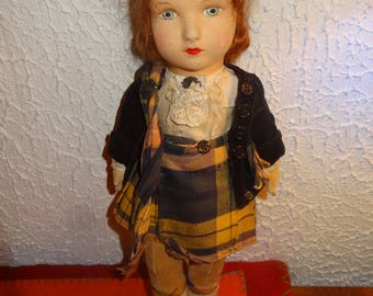 "REDUCED 10%: Alpha Farnell or Chad Valley Scottish Girl, 16"" in Very nice condition"