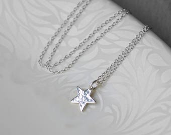 Star Necklace Silver, Gift for Her, Small Star Necklace, Delicate Silver Necklace, Star Charm Necklace Jewellery Gift for Her, Blissaria