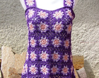 Top with purple straps knitted hand crochet in cotton satin for woman