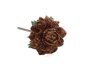 Wooden floral hair stick, genuine leather & natural wood hair fork,  flower hairfork, animal print rose handmade hair accessory hair jewelry