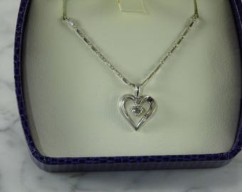 "14K White Gold Diamond Heart Pendant On A 14K White Gold 18"" Chain"