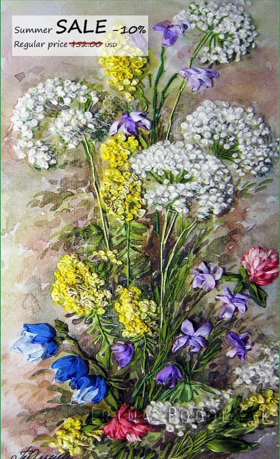 Sale silk ribbon embroidery wildflowers full kit