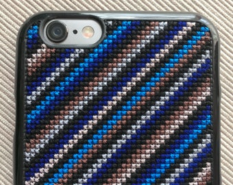 Free Shipping! Made-to-Order Cross Stitch Phone Case for iPhone 6/6S & iPhone 7 Plus with Diagonal Lines