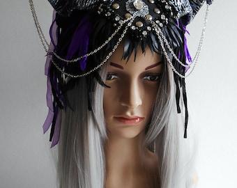 Gothic headpiece, demon headpiece, horned headdress, feather headdress, chain, gemstones, studs