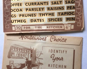 1950s Kaylee Kitchen Jar Label Transfers in Original Packaging