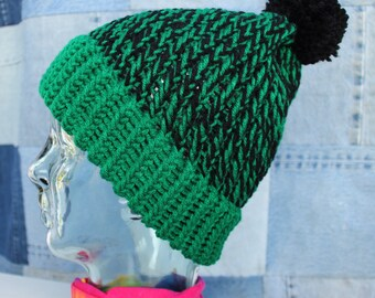 Warm Green and Black Beanie #108