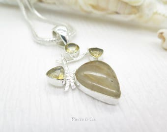 Rutilated Quartz and Citrine Sterling Silver Pendant and Chain