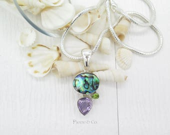 Abalone Shell Amethyst and Peridot Sterling Silver Pendant and Chain