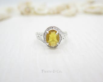7 carats Antique Citrine Sterling Silver Ring (Size 8.5)