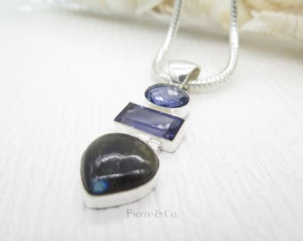 Labradorite and Amethyst Sterling Silver Pendant and Chain