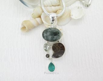 Seraphinite Ammonite Fossil Green Amethyst and Emerald Quartz Sterling Silver Pendant and Chain